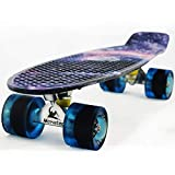 Skateboard Youth 22 inch Mini Cruiser Retro Starry Adults Skateboards for Kids Boys Girls Beginners...
