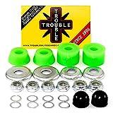 Trouble Bushings for Skateboard Trucks • Soft 90A • Cushion Rebuild Bushing Kit • Green/Silver...