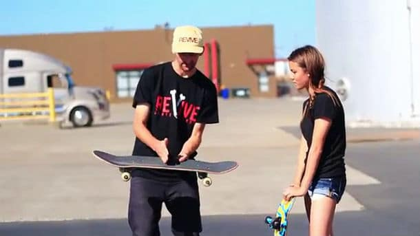 Girl Learns Her First Skateboard Tricks