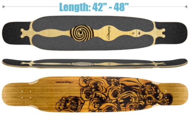 The size of deck and flex used for longboard dancing