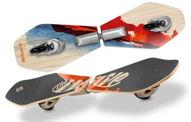 Street Surfing Wave Board Abstrakt of Wooden Deck