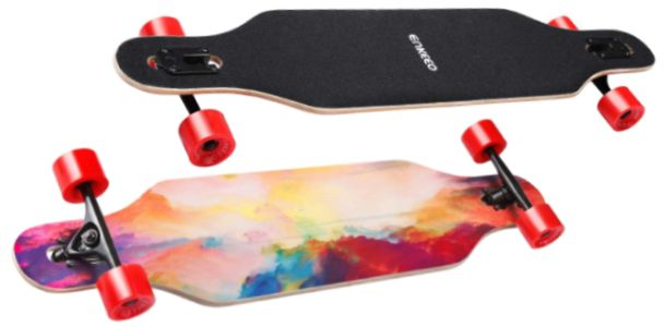 ENKEEO 40 inches Drop-Through Longboard Skateboard